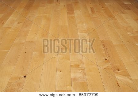 Hardwood Basketball Court Floor Viewed From A Low Angle