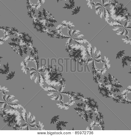 Abstract gray floral bias line fractal seamless pattern
