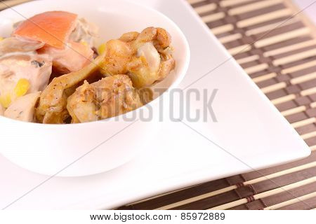 Single Roasted Chicken Leg Isolated On White
