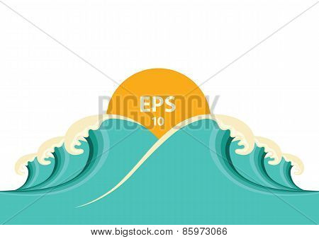 Blue Big Waves Illustration For Design
