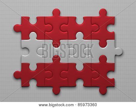 Austrian Flag Of Puzzle Pieces
