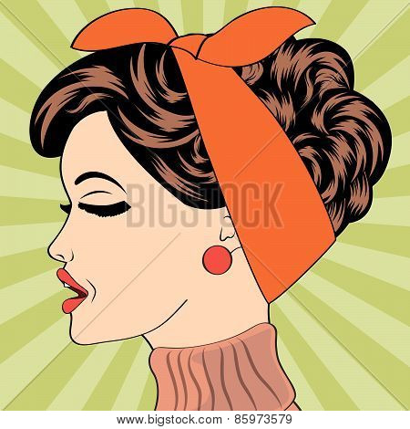 Pop Art Cute Retro Woman In Comics Style