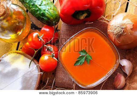 Gazpacho Prepared On A Wooden Table Top View