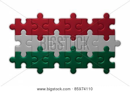 Hungarian Flag Of Puzzle Pieces