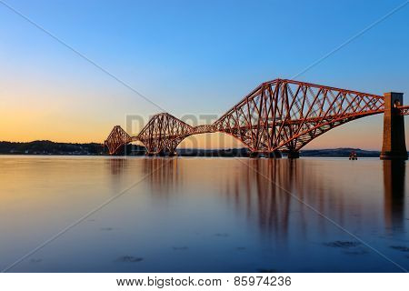 The Forth Rail Bridge at sunset