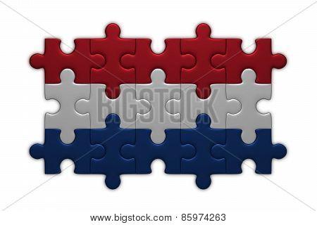 Dutch Flag Of Puzzle Pieces