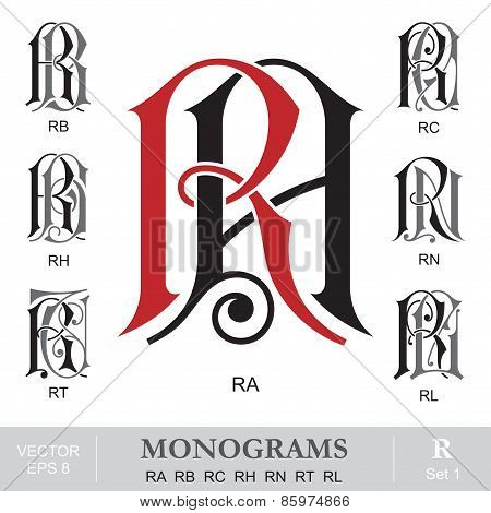 Vintage Monograms RA RB RC RH RN RT RL