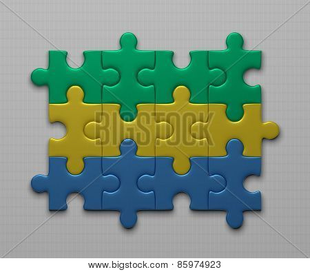 Gabon Flag Of Puzzles