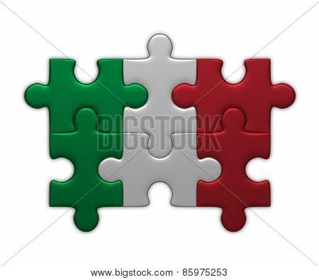 Italian Flag Of Puzzle Pieces