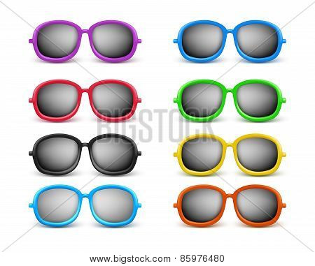 Set of Realistic Colorful Unisex Modern Stylish Elegant Sunglasses