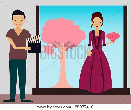 Filming. Young woman in vintage dress ready to shoot a new scene. Vector illustration