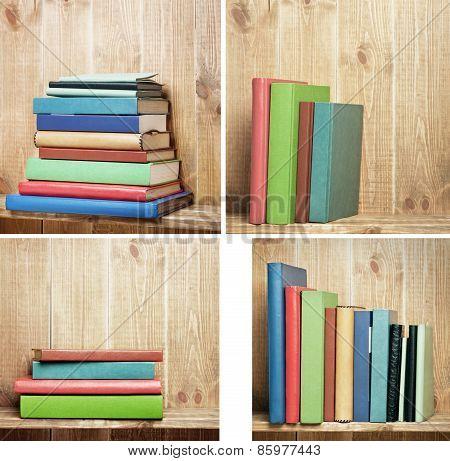Set of books on brown bookshelf.
