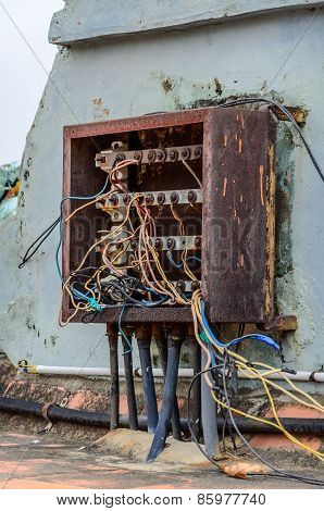 Indian chaotic electrical wiring on the roof