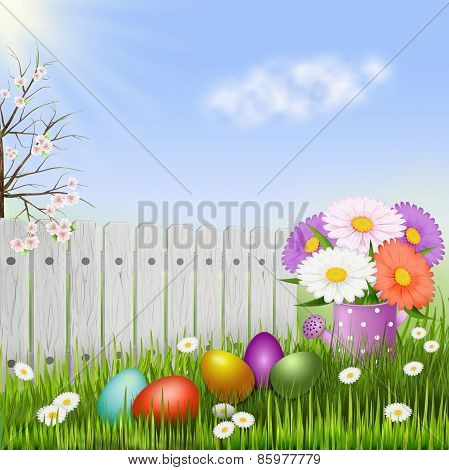 Easter Background Egg Hunt