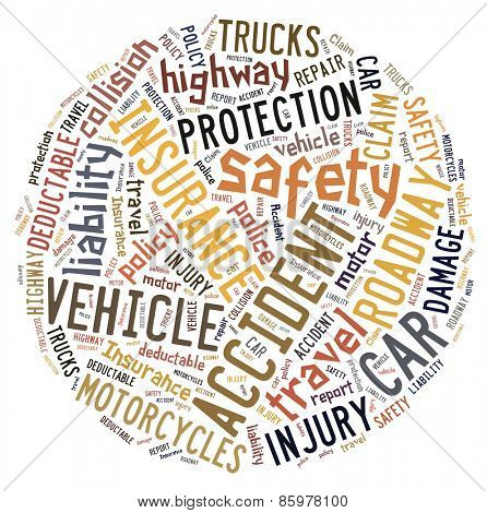 Circular word cloud showing words that deal with vehicle insurance