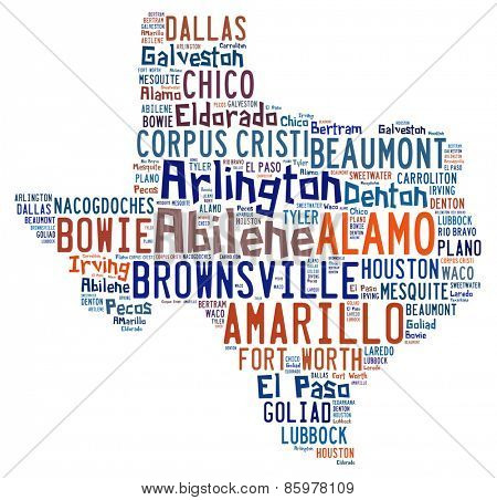 Word cloud shaped like Texas with the names of cities found in Texas
