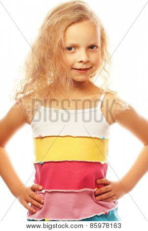 happy time for little girl, isolated on white