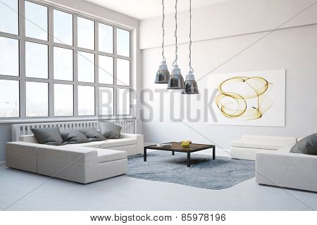 Big sofa with carpet in living room in a modern loft (3D Rendering)