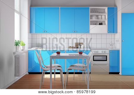Light blue kitchenette in a small clean kitchen (3D Rendering)