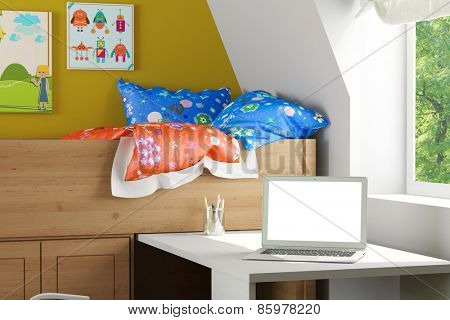 Laptop computer with white empty monitor on a desk in nursery room (3D Rendering)