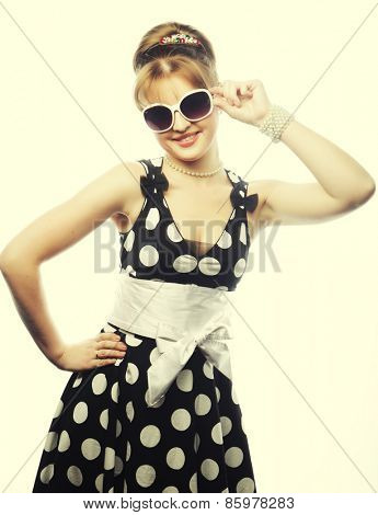 Young happy pin-up woman, glamour lady