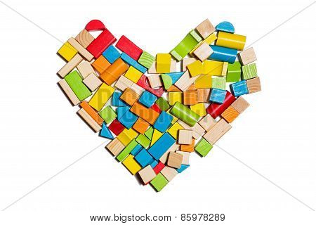 Heart Shape Made Of Color Wooden Blocks