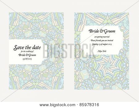 Set of vector wedding invitation card