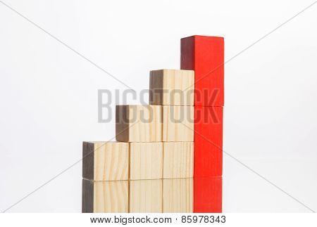 Wooden Blocks In Stairs With Red Ones Showing Growth