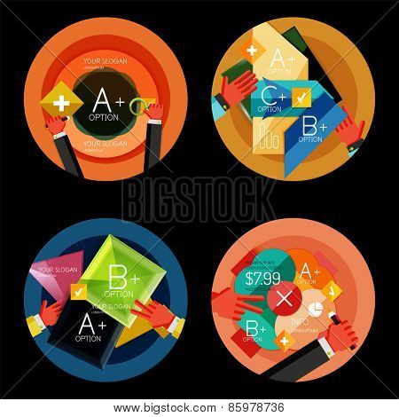 Set of option presentation labels, flat design web infographic boxes, paper graphics with gestures