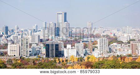 Panorama of Osaka skyline building Japan
