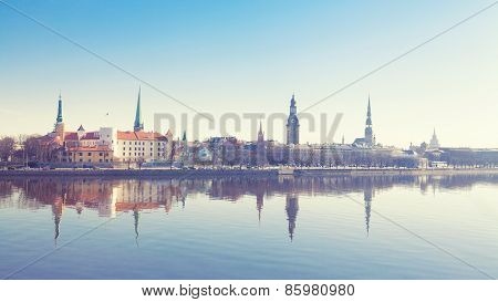 Beautiful scenery of Riga centre with reflection in Daugava