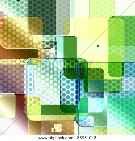 Abstract background with transparent squares and circles.