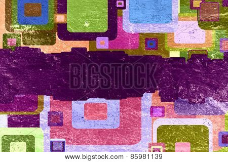 squares on the grunge wall, abstract background