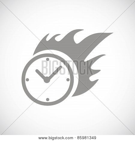 Hot clock black icon
