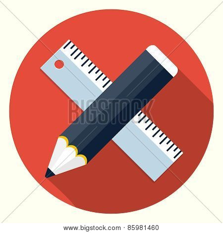 Vector ruler and pencil icon