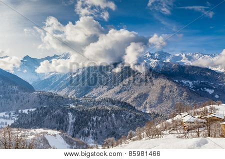 Majestic clouds over the mountain valley of Caucasus