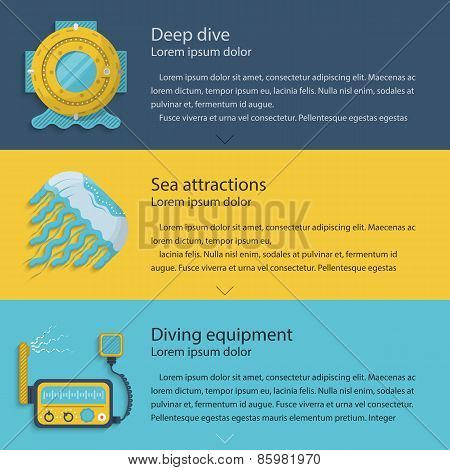 Diving elements colored vector illustration
