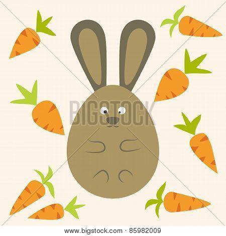 Strange Bunny Flat Stylized Egg Shaped With Carrots