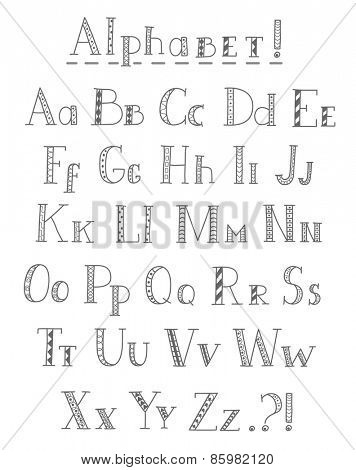 Vector hand drawn  alphabet.