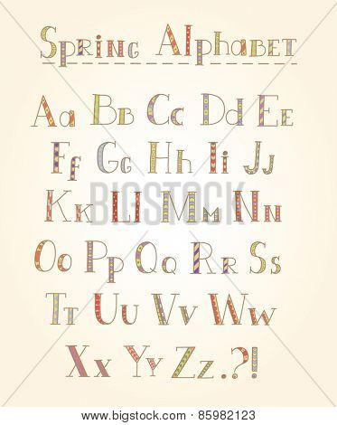 Vector hand draw alphabet with pattern.
