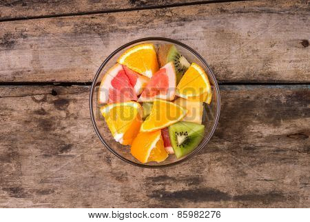 Fresh Fruit Salad In Glass Bowl.