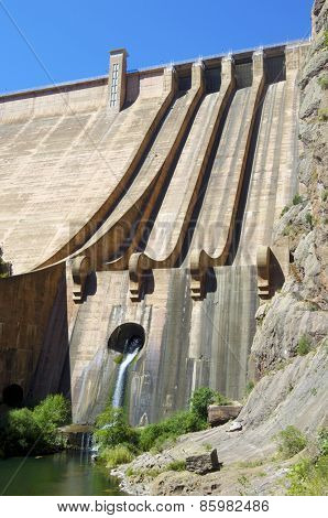 Hydroelectric dam with blue sky in Spain