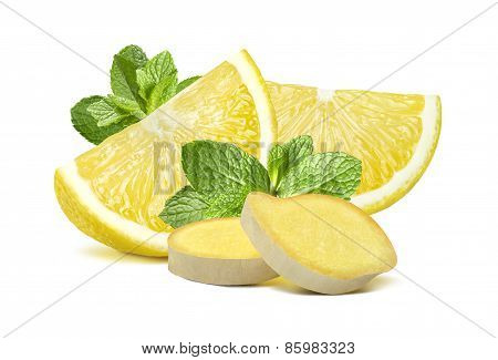 Lemon Mint Ginger Group 2 Isolated On White Background