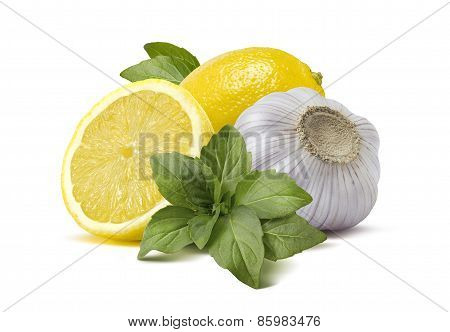 Lemon Garlic Basil Pesto Cooking Ingredients Isolated On White Background