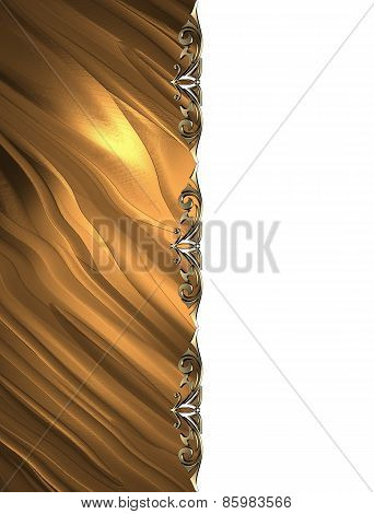 Template For Design. Gold Texture With Ornament