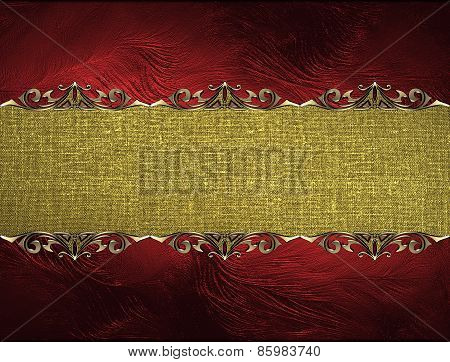 Template For Design. Red Texture With A Golden Plate For Text