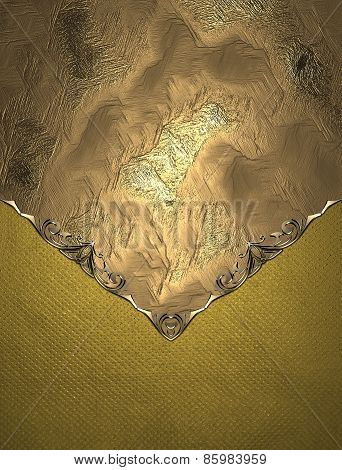 Template For Text. Design Element Of Texture With Gold Pattern