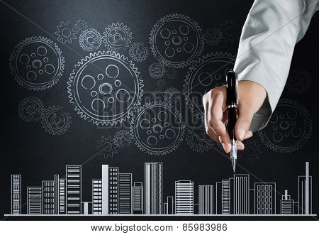Close up of businesswoman hand drawing business sketches