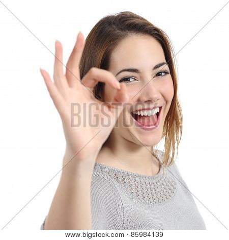 Close Up Of A Happy Woman Making Ok Gesture