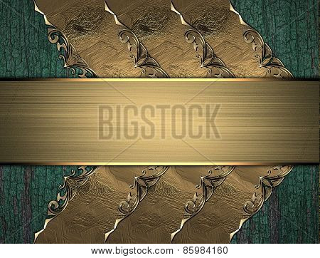 Template For Text. Dried Paint On Wood With A Gold Nameplate With A Pattern